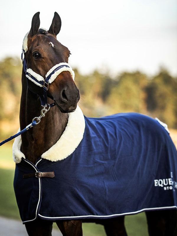 Fleece Rug Fur Navy Equestrian Stockholm