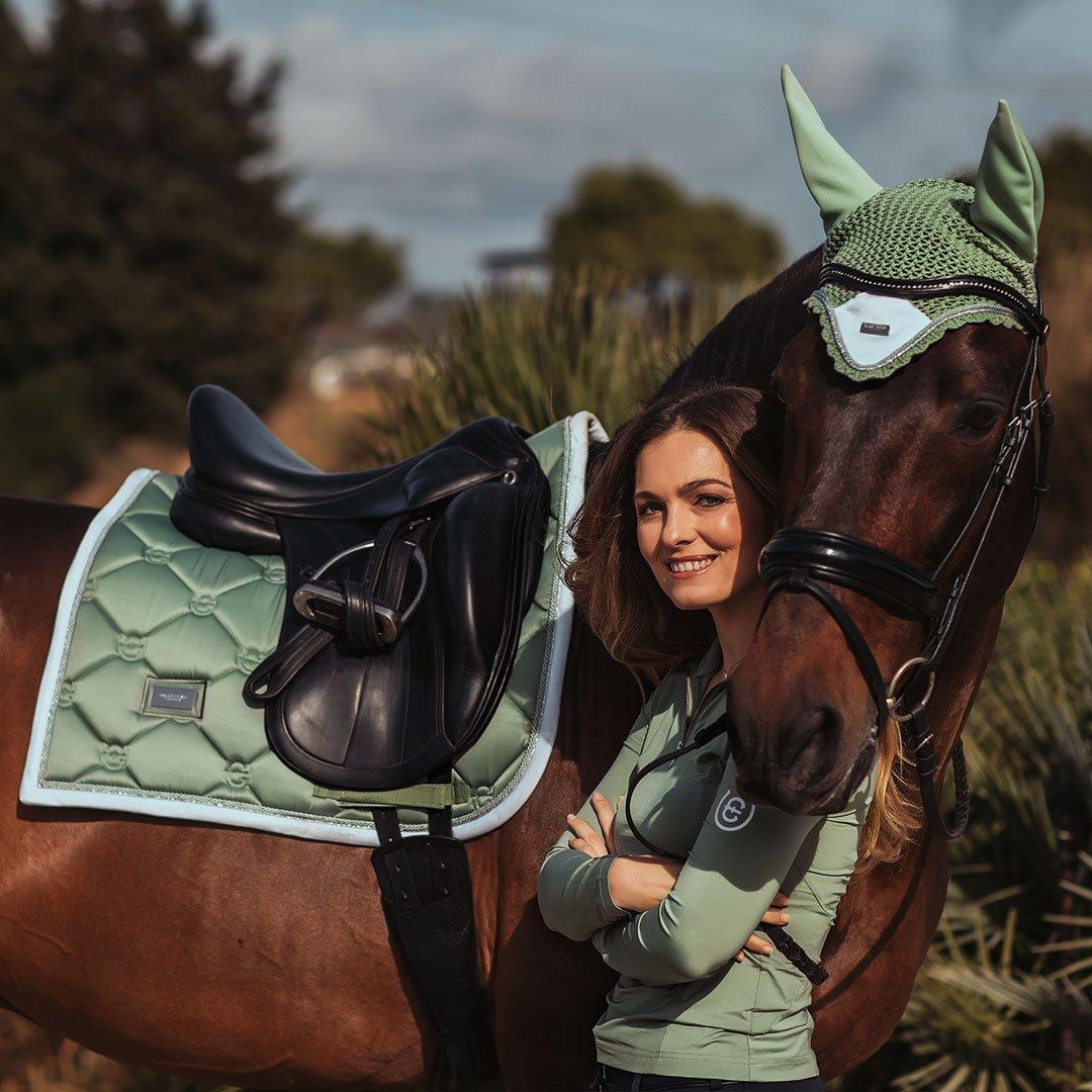 K.Bell Beige Horse Equestrian Saddle Boots Hat Images Ladies knee High Socks New
